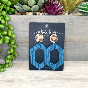 Holly Hex Stud Genuine Leather Earrings - Teal Leopard