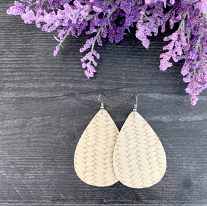 Braided Genuine Leather Earrings - French Vanilla