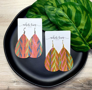 Summer Chevron Genuine Leather Earrings - Peachy