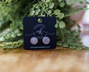 Premier Collection Silver Druzy Stud Earrings