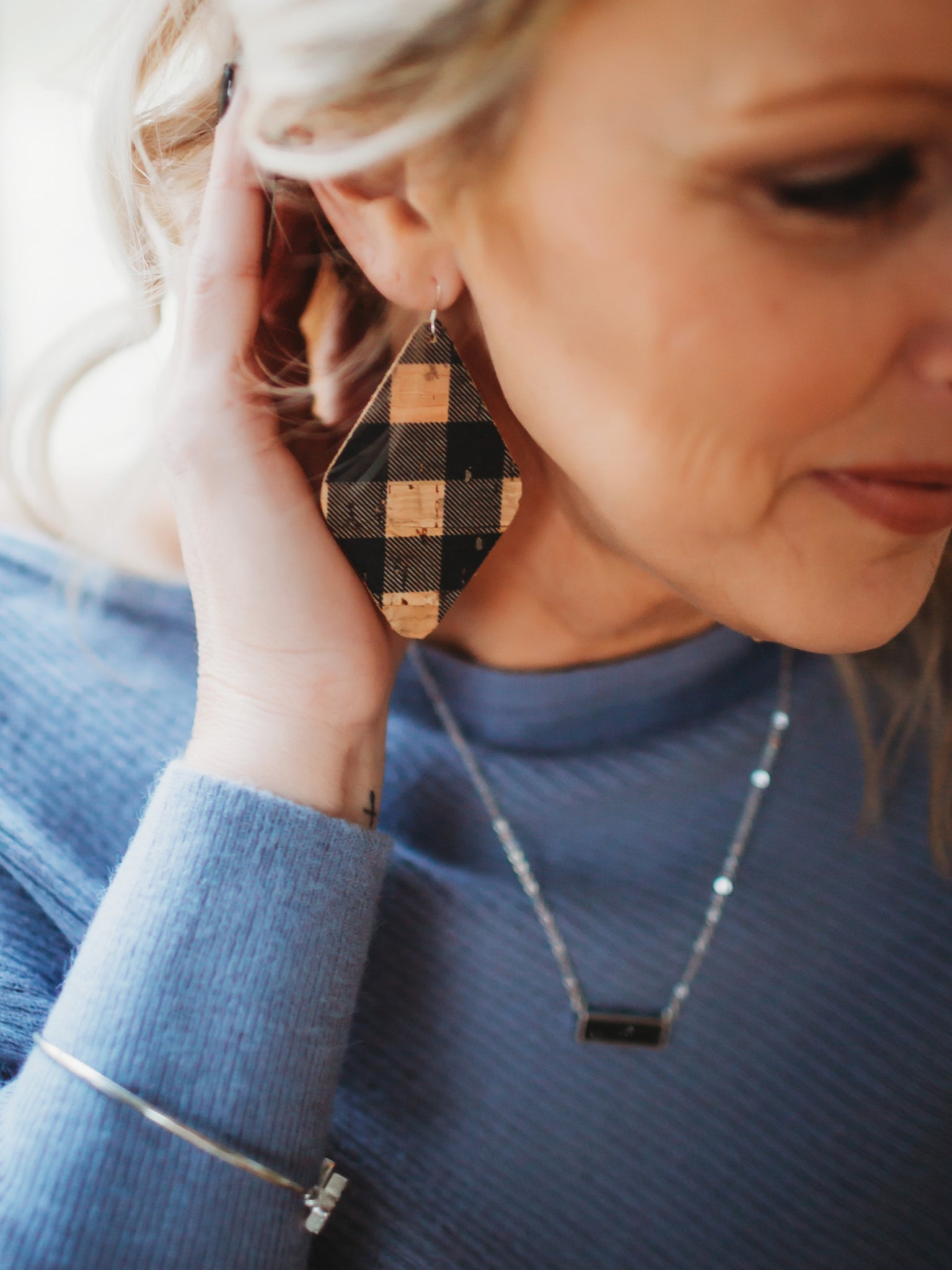 Diamond Plaid Cork + Leather Earrings - Natural Black