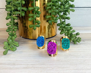 Premier Collection Druzy Statement Ring - Bright Blue