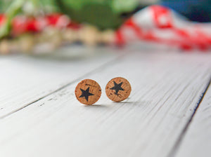 Cork + Leather Round Studs - Stars