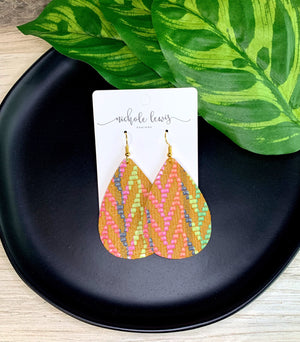 Summer Chevron Genuine Leather Earrings - Golden