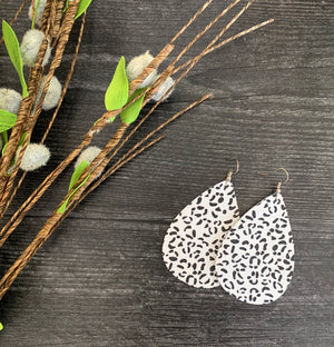 White Leopard Teardrop Genuine Leather Earrings