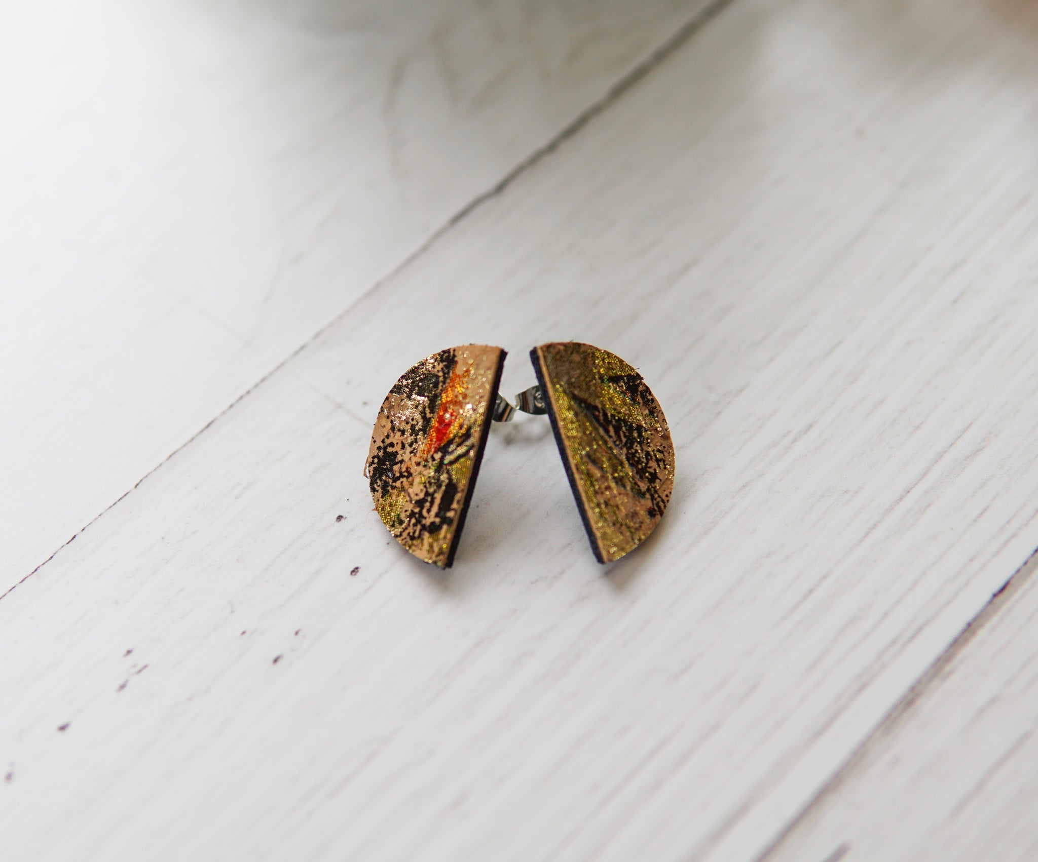 Cork + Leather Half Moon Studs - Golden Tropical