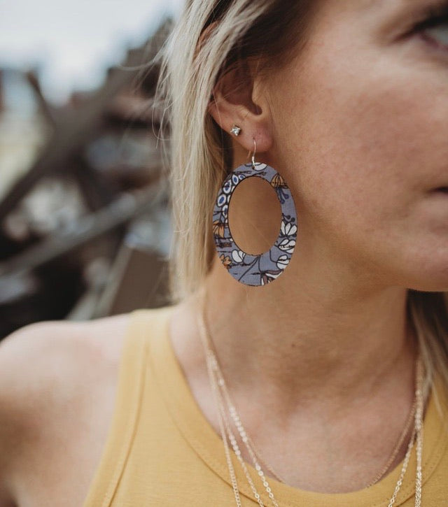 Olivia Cork + Leather Earrings - Blue Floral