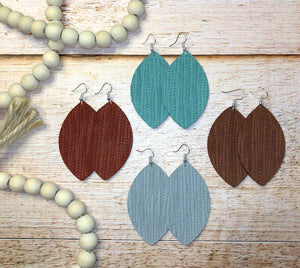 Palm Leaf Zoe Genuine Leather Earrings