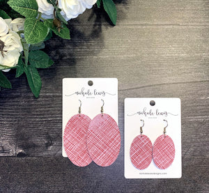 Phoebe Oval Genuine Leather Earrings - Red Linen