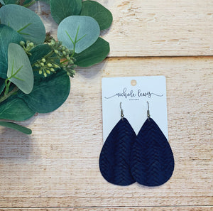Braided Genuine Leather Teardrop Earrings - Navy