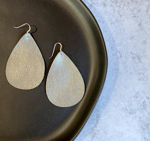 Distressed Genuine Leather Teardrop Earrings - Grey