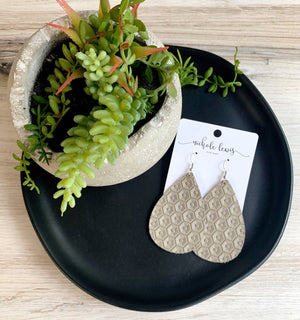 Honeycomb Genuine Leather Earrings - Light Taupe