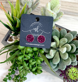 Deep Plum Druzy Stud Earrings