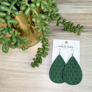 Honeycomb Genuine Leather Earrings - Palm