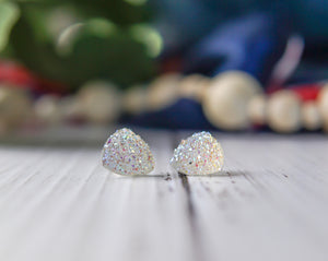 Large Triangle Druzy Studs - Rainbow