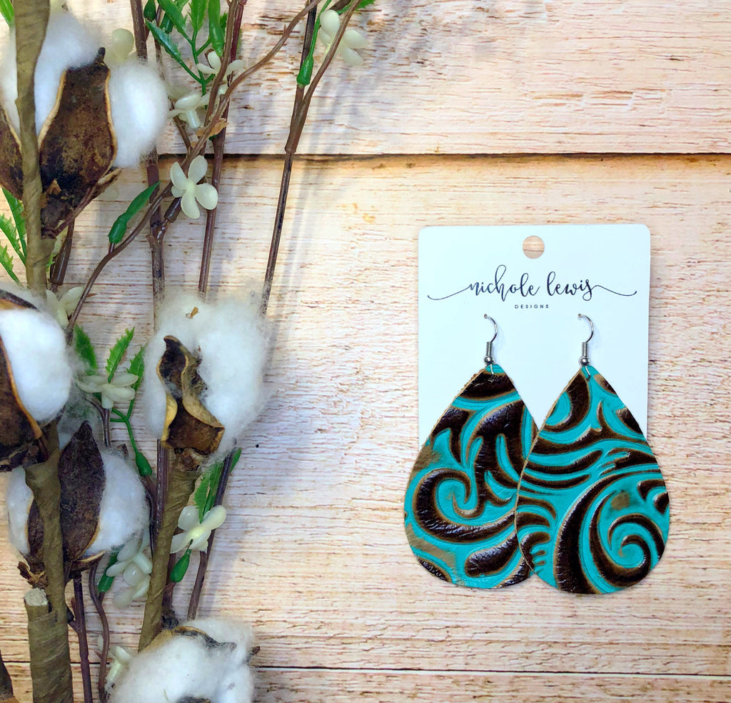 Turquoise Western Genuine Leather Earrings