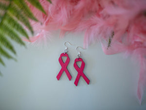 Pink Ribbon Wood Earrings