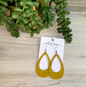 Cutout Textured Genuine Leather Earrings - Palm Light Mustard