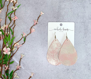 Rock N Roll Genuine Leather Earrings - Light Pink