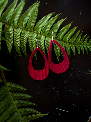 Cutout Textured Genuine Leather Earrings - Cranberry