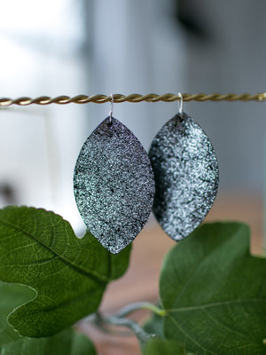 Zoe Genuine Leather Earrings - Silver Crackle