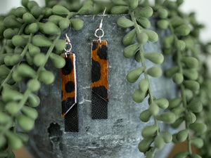 Layered Bar Earrings - Black Leopard
