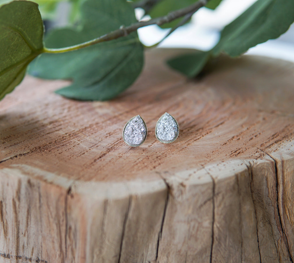 Teardrop Druzy Stud Earrings - Silver