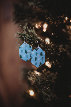 Heather Mini Genuine Leather + Cork Earrings - Blue Trees