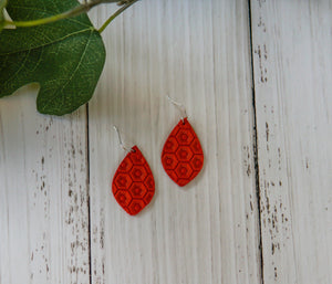 Emma Textured Genuine Leather Earrings - Red