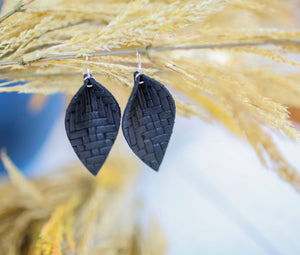 Weave Leaf Genuine Leather Earrings - Black