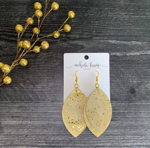 Zoe Quinn Paisley Genuine Leather Earrings - Gold