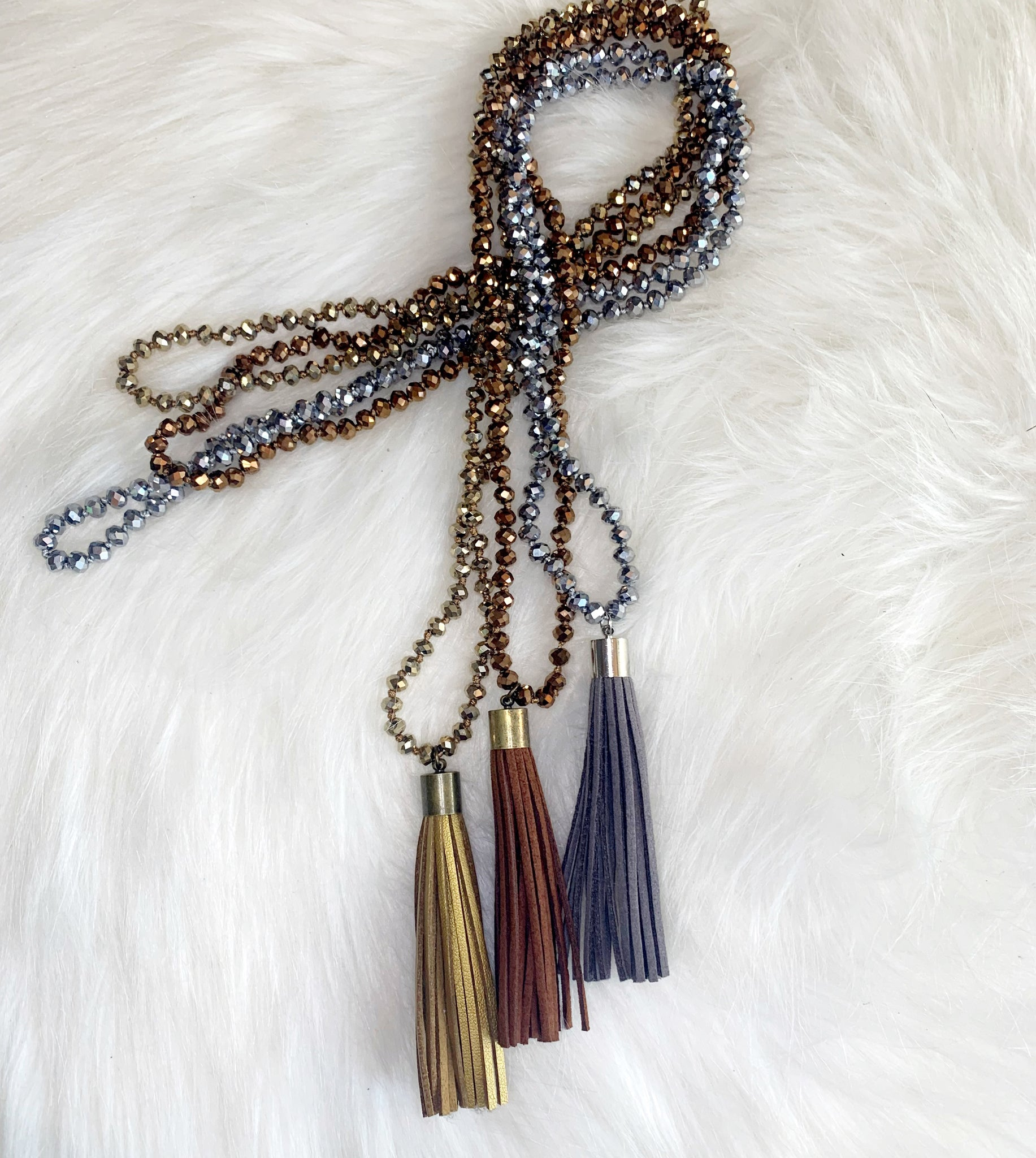 Glitzy Long Tassel Necklace
