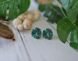Monstera Acrylic Studs - Green