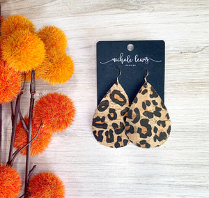 Cork Teardrop Earrings - Burnt Leopard