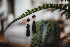 Druzy & Suede Tassel Earrings- Black