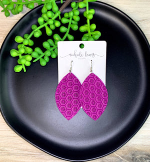 Zoe Honeycomb Genuine Leather Earrings - Vibrant Purple