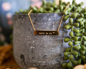 "Signature Collection Bar Necklace - ""mama to be"""