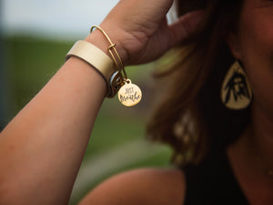 """Just Breathe"" Gold Stainless Steel Bangle Bracelet"