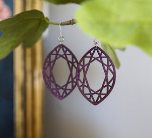 Cutout Geometric Wood Earrings - Purple