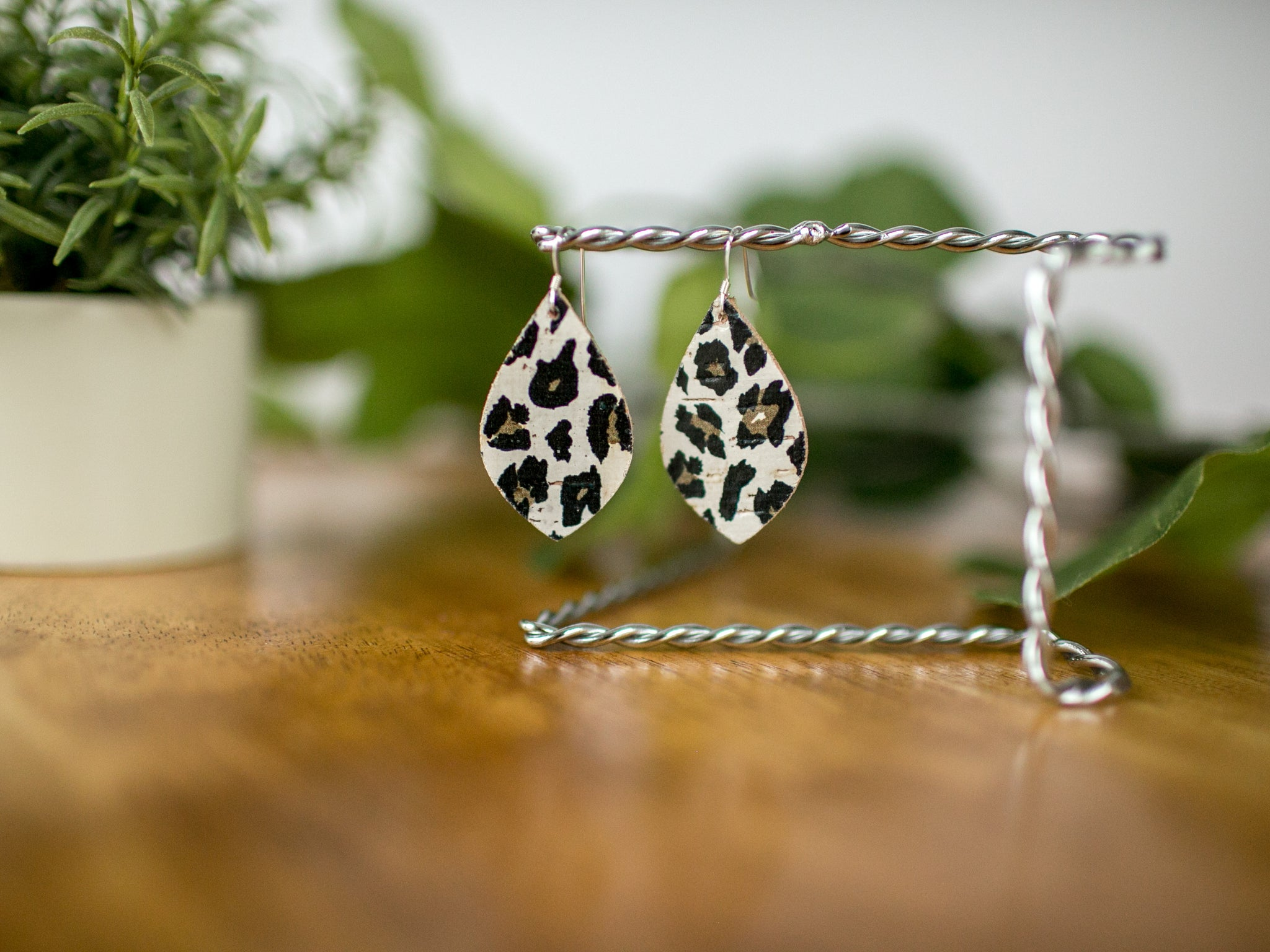 Mia Cork + Leather Earrings - White Cheetah