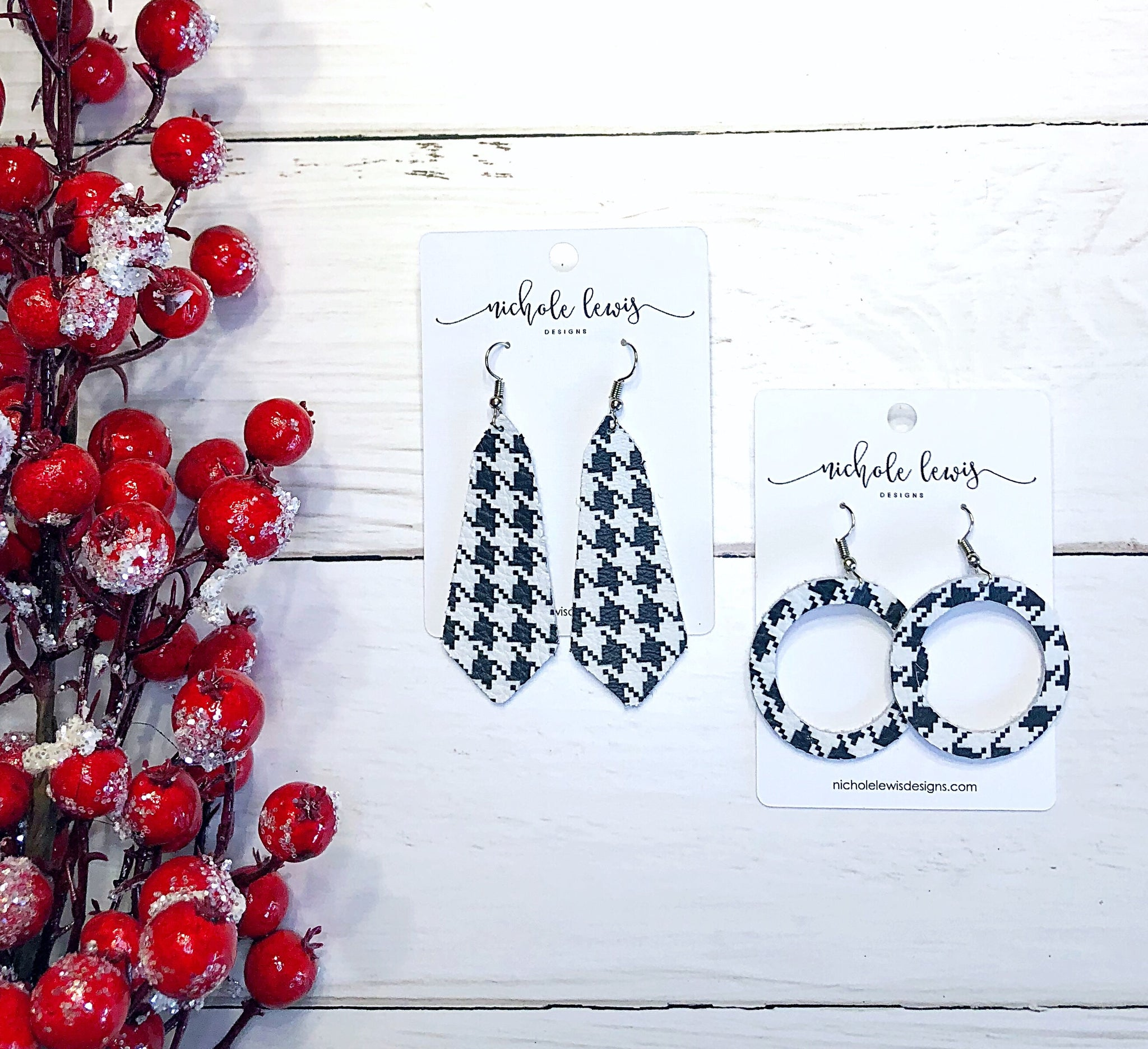 Houndstooth Genuine Leather Earrings