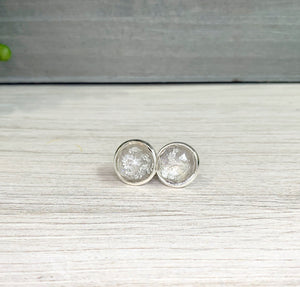 12mm Silver Fleck Stud Earrings