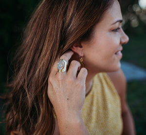 Premier Collection Druzy Statement Ring - Champagne