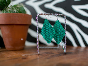 Diamond Braided Genuine Leather - Emerald
