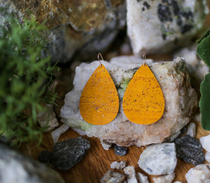 Cork Teardrop Earrings - Mustard