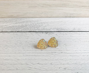 Large Triangle Druzy Studs - Champagne