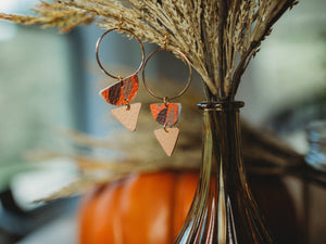 Danielle Hoop Leather Earrings - Leaves