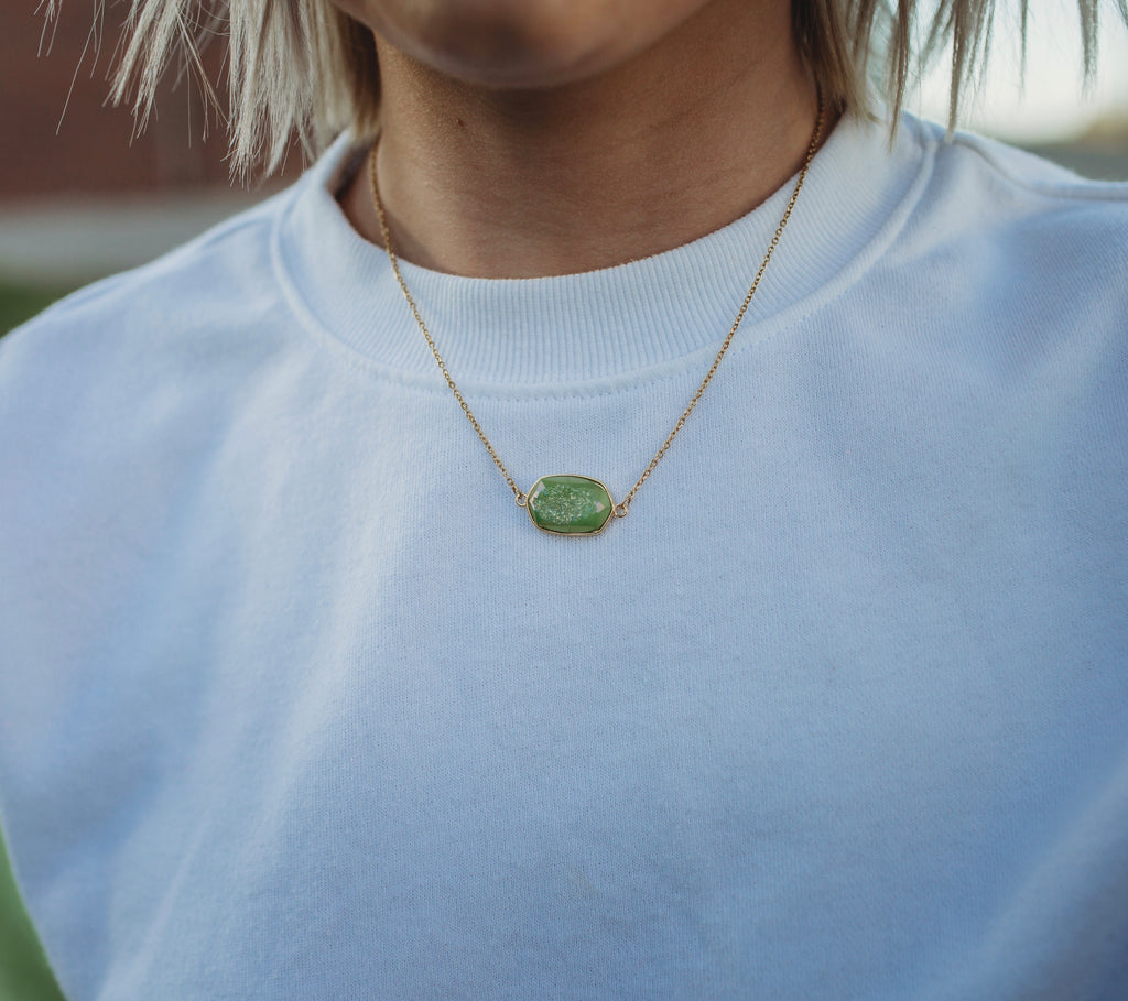 Premier Collection Whitney Druzy Necklace - Lime