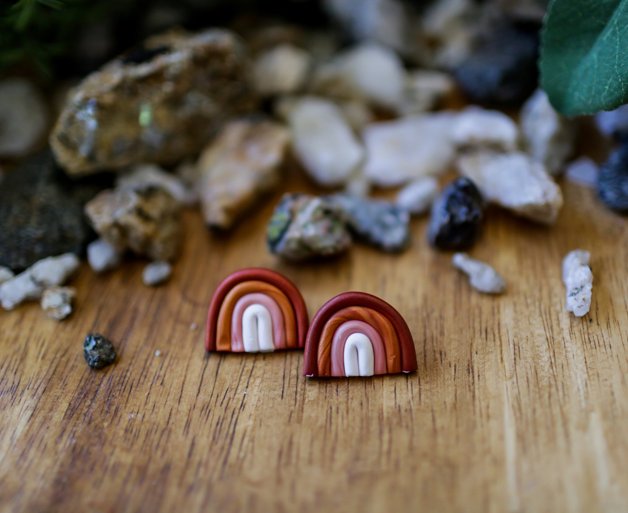 Rainbow Clay Studs - Sunset
