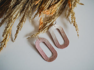 Bristol Genuine Leather Earrings- Rose Gold
